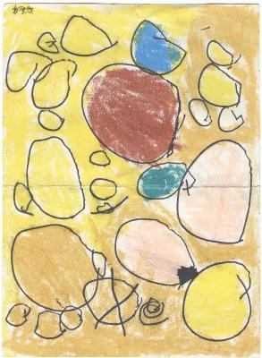 洋洋画的抽象画,象石头堆吗