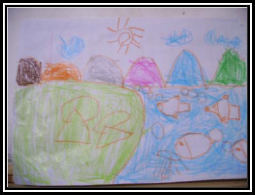 可爱的家乡小学画