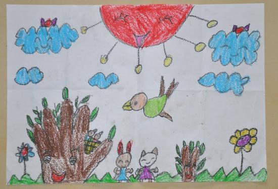 水果之家   四、水彩画系列   母鸡带小鸡   也是根据下面的立体贴画临摹