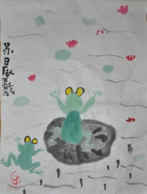 11-12、池塘里的小青蛙-小小画家 14 晨曦8月暑假的国画作品