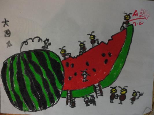 小蚂蚁吃西瓜