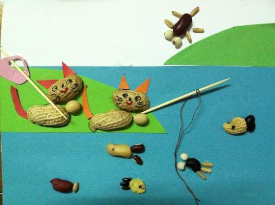 小猫钓鱼(种子贴画手工作品)-溜溜的大顺城堡