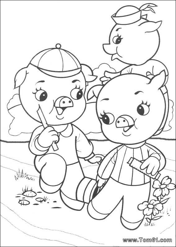 三只小猪手绘画