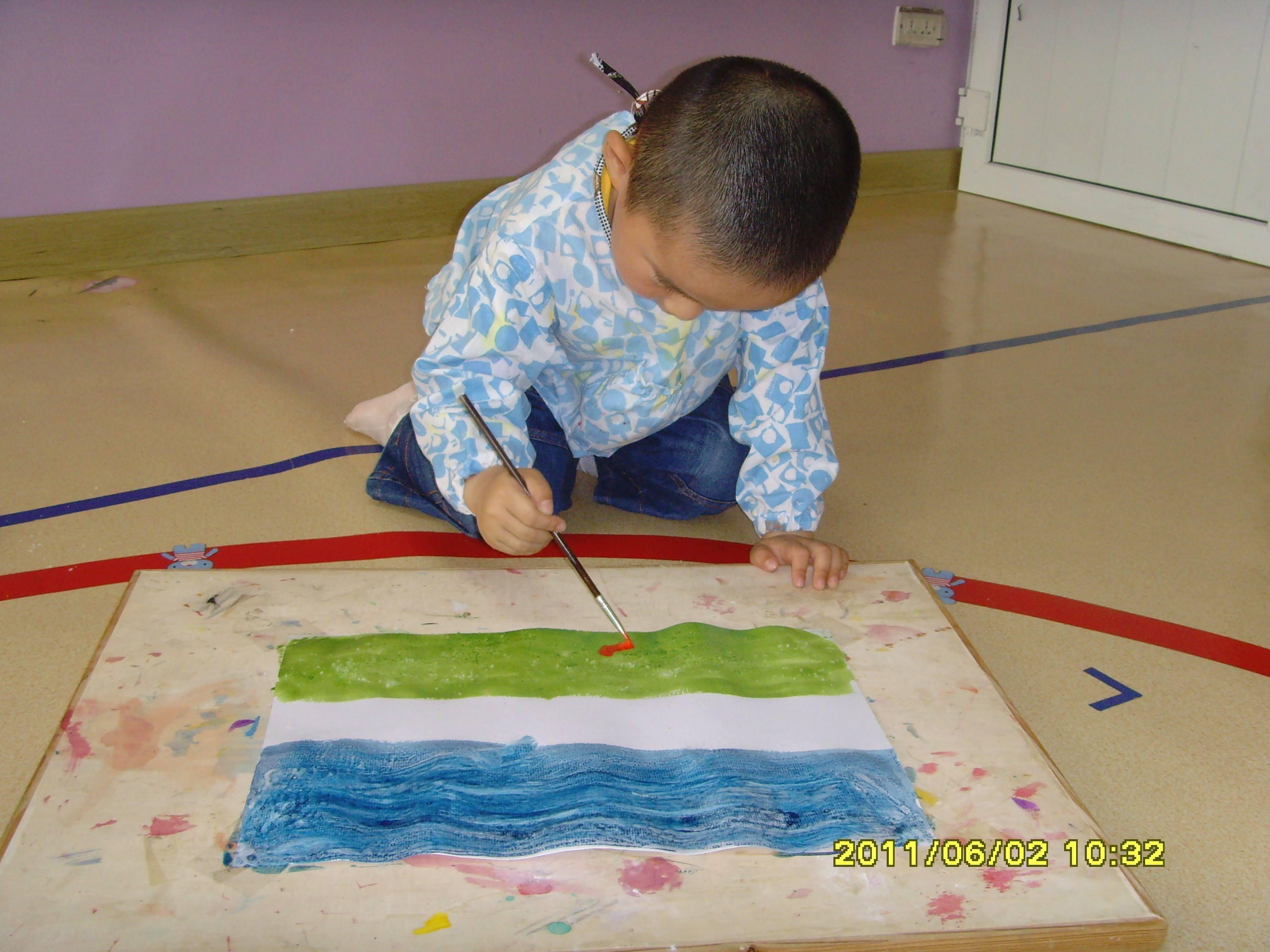 作品   2、撒盐水彩画:先用水彩作画,过片刻,当纸处在半干状态时