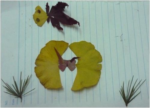 【关于秋天】树叶画