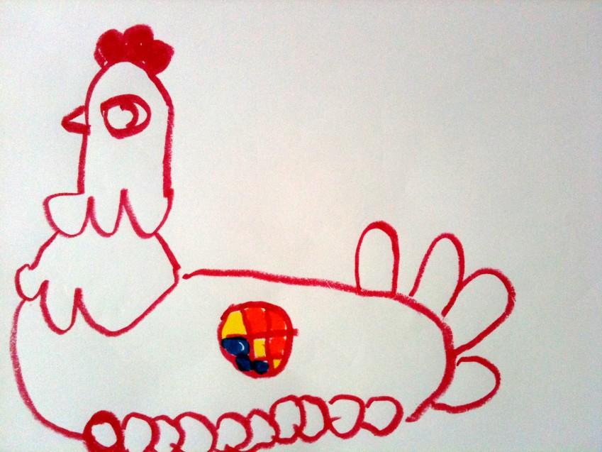 佳佳绘画作业 7 母鸡孵蛋