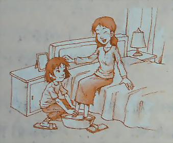 情侣洗脚图片手绘