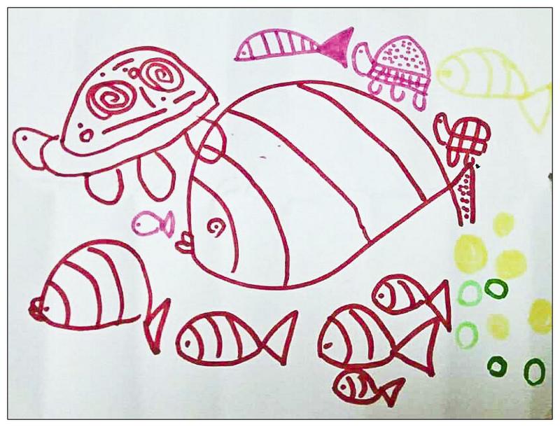 两条鱼的嘴巴画得很可爱